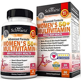Daily Multivitamin for Women 50 & Over – Memory Support Supplement – Promotes Stress Reduction & Healthy Immune Response – Supports Healthy Heart Function - Designed for Stomach Comfort