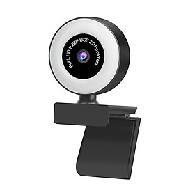 1080P/2MP USB Plug and Play Webcam with Built-in Microphone Light for Live Stream Video Call Video Conference Online