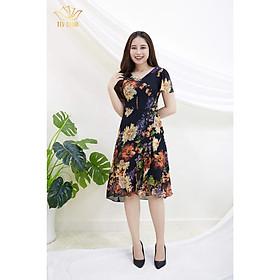 Đầm Thiết kế Đầm xòe Đầm thời trang công sở Đầm trung niên thương hiệu TTV466 Đen hoa cam - Đầm form A bèo đắp chéo CT