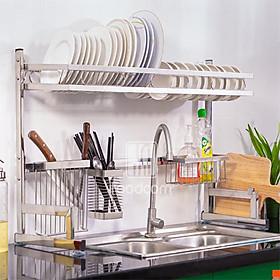 Kệ chén bát đa năng Foodcom kích thước 86cm 1 tầng dùng cho bồn đôi bằng inox cao cấp không han gỉ giá để bát trên bồn rửa ráo nước cho nhà bếp sạch sẽ tiết kiệm không gian căn bếp gia đình bạn