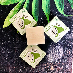 Xà phòng Mảng cầu Adeva Naturals (3 bánh - 100 gr/ 1 bánh) - Xà phòng handmade với thành phần từ thiên nhiên, an toàn dịu nhẹ, cho làn da mềm mại - Không gây khô rít da