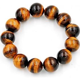 Vòng đeo tay chuỗi hạt đá mắt hổ vàng đen 16 ly - Chuỗi đeo tay đá phong thủy - Kích thước lớn phù hợp cho nam