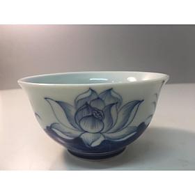 bộ bát cúng cơm vẽ sen xanh men ngọc gốm sứ Bát Tràng cao cấp.