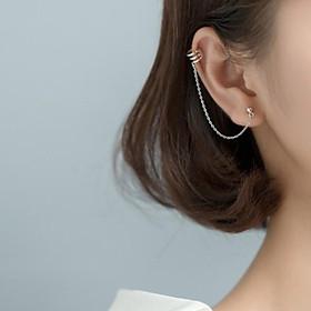 Khuyên tai kẹp vành liền nụ xích (100% bạc)