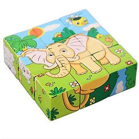 Đồ chơi ghép hình 6 mặt 9 miếng gỗ cho bé lắp ghép được 6 bức hình khác nhau - giao hình ngẫu nhiên