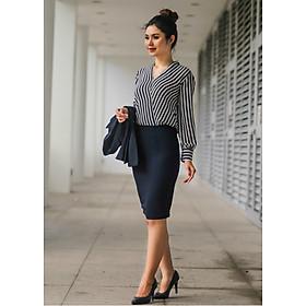Áo cổ đắp chéo sọc trắng đen ( Free Size) - Chân váy bút chì FS001 ( Size S,M,L)