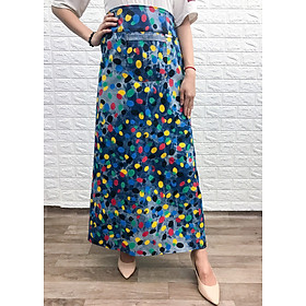 Váy chống nắng xẻ tà chất liệu JEAN hoa văn-VJXT0012