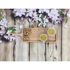 Khay gỗ decor, khay gỗ trang trí, khay gỗ tần bì (gỗ ash) hình chữ nhật có tay cầm đựng thực phẩm