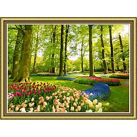 Decal trang trí tường giả khung tranh vườn hoa mùa xuân TN0037KV2 (khác TN0037KV về kích thước và khổ tranh)