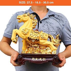 Tượng Ngựa Phong Thủy nhựa tổng hợp si vàng
