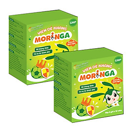 COMBO 2 Hộp Viên đề kháng Moringa  - Giúp tăng sức đề kháng, phòng tránh các bệnh thường gặp ở trẻ em - Hộp 8 gói