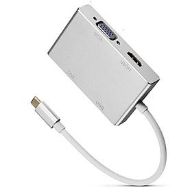 Hub chuyển đổi USB Type-C ra HDMI, DVI, VGA, USB - 4in1-1