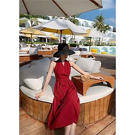 Đầm maxi cổ yếm đỏ booc-đô sang trọng, váy dự tiệc, du lịch đẹp   MX051