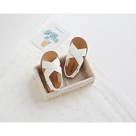 Giày Sandal Quai Chéo Cho Bé Gái Đi Học 3 Màu (Đen, Nâu, Trắng) Từ 1 Đến 5 Tuổi