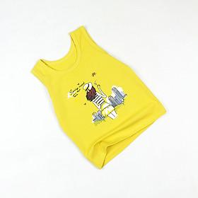 Áo thun ba lỗ màu vàng in cô gái cho bé gái 0.5-8 tuổi từ 10 đến 26 kg 05155