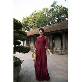 Áo dài tơ đỏ đô tà xẻ