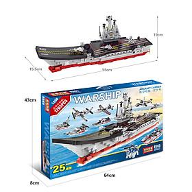Bộ đồ chơi xếp hình KAVY tàu sân bay cực lớn với 1265 chi tiết gồm rất nhiều máy bay, tàu thủy, lính, ô tô..