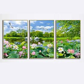 Bộ Tranh Canvas treo tường Hoa sen T004 (40x60)