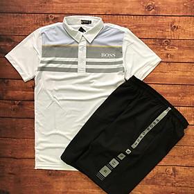 Set đồ bộ quần áo thể thao nam phối cổ bẻ thể thao ( đồ tập gym, chạy bộ, cầu lông )