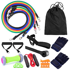 16pcs Fintess Resistance Bands Set Exercise Tube Bands Jump Rope Door Anchor Ankle Straps Cushioned Handles Fitness-2
