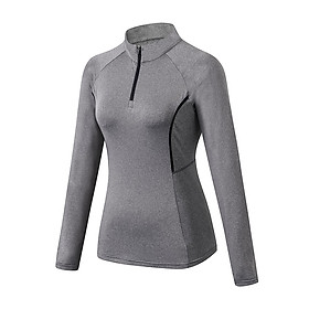 Women Sporstwear Yoga Sweatshirt Stand Collar Long Sleeves Zipper Quick Dry Jogging Gym Workout Training Outfit