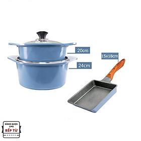 Combo 3 món cao cấp, nồi đúc ceramic đế từ xanh size 20-24cm, chảo vân đá ceramic vuông size 15x18cm màu xanh (dùng được tất cả các bếp, kể cả bếp từ)  - Hàng chính hãng