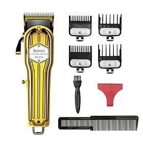 Tông đơ cắt tóc chuyên nghiệp KEMEI 1976 lưỡi sắc bén,vỏ nhôm nguyên khối,dung lượng pin 2500mAh,tặng 8 cữ và phụ kiện cao cấp