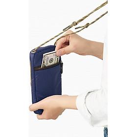 Túi đựng hộ chiếu (Passport) đeo cổ kèm ví cầm tay chống thấm nhẹ