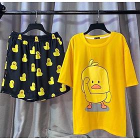 Set đồ unisex Vịt vàng gồm 1 quần cartoon kèm 1 áo thun nam nữ form rộng tay lỡ Freesize mặc vừa từ 40-65kg Molly Urban
