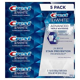 SET 5 TUÝP KEM ĐÁNH RĂNG CREST 3D WHITE ADVANCED TRIPLE WHITENING 158Gx5 HÀNG NHẬP MỸ KHÁNG KHUẨN TRẮNG RĂNG THƠM MIÊNG( MẪU MỚI )