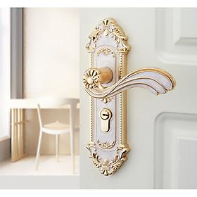 Bộ khóa cửa tay nắm Tân cổ điển Vân đá - Mạ vàng Siêu xịn AGD cho Biệt thự, Khách sạn