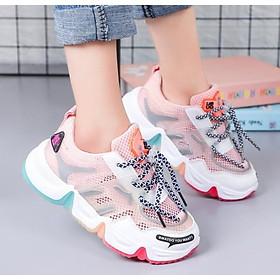 Giày nữ trẻ em   Giày thể thao bé gái đế ba màu thoáng khí
