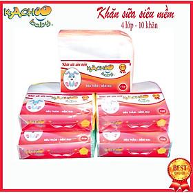 Khăn sữa siêu mềm KACHOOBABY bịch 4 lớp (24x28cm) – 10 cái, mềm mại thấm hút tốt, dùng để lau mặt, quàng cổ, thấm sữa