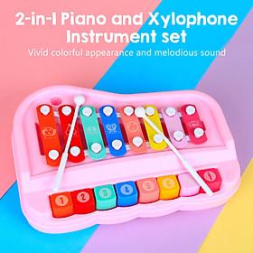 ammoon SY-73 2-trong-1 Xylophone Piano Nhạc cụ đồ chơi có vồ cho trẻ em Bé trai bé gái