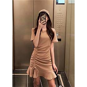 Váy nữ cotton đẹp, cổ tròn, ngắn tay, Váy thun dây rút eo đuôi cá chất đẹp nhiều màu freesize<54kg