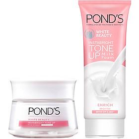 Combo Kem Sữa Rửa Mặt Dưỡng Trắng Nâng Tông Pond'S White Beauty 100G Và Kem Sữa Dưỡng Trắng Nâng Tông Pond'S White Beauty Tone Up 50G