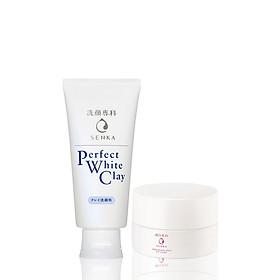 Bộ kem dưỡng trắng da ban ngày Senka (Glow UV Cream 50gr+ Perfect White Clay 120g)