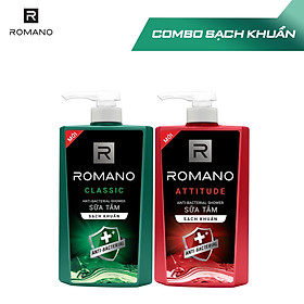 Combo 2 Sữa tắm sạch khuẩn Romano Classic và Attitude 650g/chai