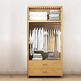 Tủ treo quần áo gỗ tre có ngăn kéo để đồ tiện lợi, giá treo quần áo 70cm TUR068