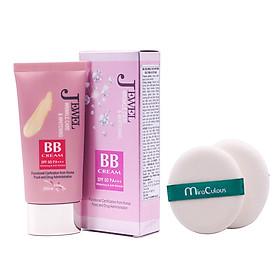 Kem lót nền đa chức năng cao cấp Hàn Quốc Mira Jewel BB Cream (40g) + tặng Bông phấn tán kem nước cao cấp Hàn Quốc Mira culous (quai xanh) – Hàng chính hãng.