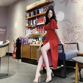 Đầm Maxi Bi Đỏ Cột Eo Tay Loe ( kèm ảnh thật )