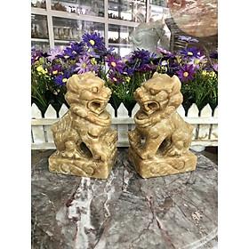 Cặp Kỳ Lân phong thủy đá cẩm thạch vân gỗ - Cao 15 cm