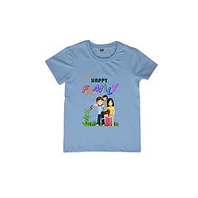 Áo Thun Gia Đình 3 Người In Họa Tiết Happy Family Màu Xanh Biển