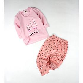 Bộ thun dài hồng cam in thỏ cho bé gái 0.5-1.5 tuổi từ 6 đến 12 kg 02649