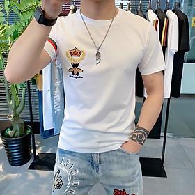 Áo Thun Nam Cotton in họa tiết 2 màu trắng đen thương hiệu Julido Store, áo phông cổ tròn basic cộc tay thoáng mát, thấm hút mồ hôi - Hàng chính hãng AT04