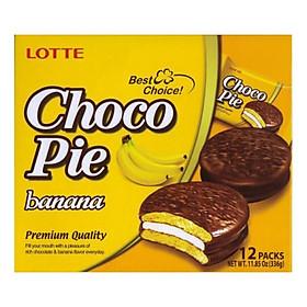 Bánh Lotte Chocopie vị Chuối hộp 336 gr (12 bánh)