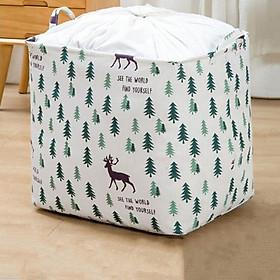 Túi vải vintage cỡ lớn đựng chăn mền drap, quần áo có quai xách dạng túi rút dây kiểu dáng sang trọng-Size Đại (40x50x40cm)- Hàng chính hãng