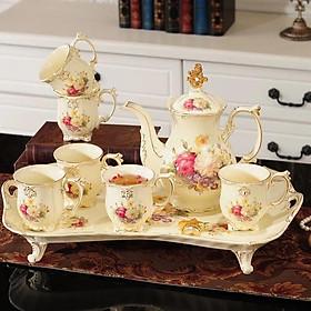 Bộ ấm chén trà kèm khay chữ nhật họa tiết hoa mẫu đơn