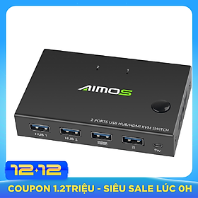 AIMOS AM-KVM201CC 2-Port HDMI KVM Switch Support 4K*2K@30Hz HDMI KVM Switcher Keyboard Mouse USB