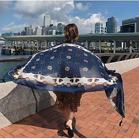 Khăn choàng thổ cầm đi biển - chống nắng Vintage tone xanh đen trắng SKC14